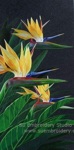 Bird of Paradise, silk embroidery painting, all hand embroidered with fine silk threads on silk from Su Embroidery Studio, Suzhou China Chinese Embroidery, Embroidery Applique, Embroidery Stitches, Embroidery Patterns, Thread Painting, Silk Painting, Laos, Birds Of Paradise Flower, Embroidered Bird