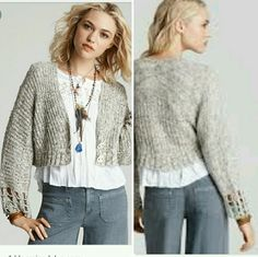 Free people cropped knit sweater Beige Creme tan brown mix, tag cut but I am sure it is medium EUC Free People Sweaters