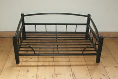 Large Super Stylish Hand Crafted Wrought Iron Raised Dog Beds from Mark Stoker at StokerHounds. Raised Dog Beds, Dog House Bed, Dog Bowl Stand, Basement House, Iron Work, Dog Crate, Dog Accessories, Wrought Iron, Dog Bowls