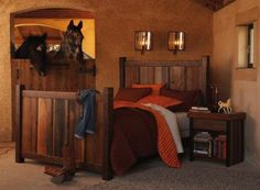 horse stall bedroom, such a cute idea....This is going to be one of kids bedrooms. for sure.