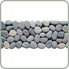 STONE TILE BORDERS | River Rock Pebble Tile Border 4x12 at Design For Less