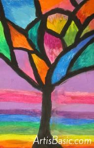 Abstract Oil Pastel Trees-- 4th/5th grade Art is Basic