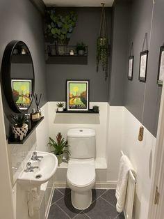 Grey downstairs cloakroom, half and half, paint border Small Downstairs Toilet, Small Toilet Room, Downstairs Cloakroom, Washroom, Bathroom Design Small, Bathroom Interior Design, Small Toilet Design, Bathroom Grey, Bad Inspiration