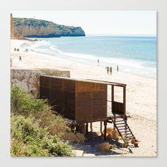 Cabane de plage, sea, Portugal, Europe Stretched Canvas by Sébastien BOUVIER - $85.00 Prints For Sale, Framed Art Prints, Portugal, Europe, Beach, Water, Outdoor, Beach Shack, Cabins