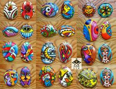 Whimsical designs that can be used on hand painted rocks.