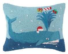 Holiday Whale Hook Wool Throw Pillow