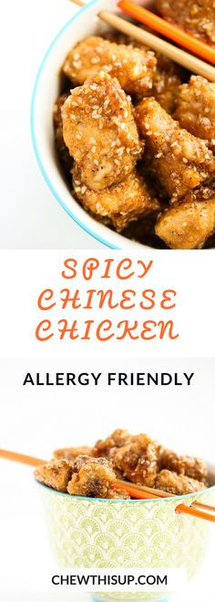 Gluten Free Chinese Chicken is addicting. Read more about gluten free chinese food HERE and how to make gluten free chinese chicken recipes TODAY. Chicken Recipes Dairy Free, Gluten Free Recipes For Lunch, Healthy Meat Recipes, Gluten Free Recipes For Dinner, Spicy Recipes, Recipes Dinner, Pasta Recipes, Vegan Recipes, Gluten Free Chinese Food