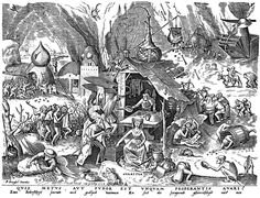 The Seven Deadly Sins or Seven Vices - Avaritia (Greed) ~ Pieter Bruegel the Elder, c.1558. Engraving published by Hieronymus Cock. Bibliothèque Royale, Cabinet Estampes, Brüssel  #art #engraving