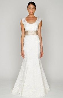 Hazel dress - Monique Lhuillier Scoop Mermaid Gown in lace with natural waist and cap sleeves. (Style # 32306714)