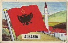 Albania -//- flags all nations by dandy gum -Land total area: Population est.): Capital and largest city est. Socialist Realism, Collectible Cards, Dandy, Dragon Ball, Pop Culture, Arms, The Unit, Flags, Painting