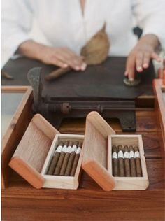 Wedding Cigar Bar offering hand-rolled cigars for the guests. This 2015 trend is a great idea for wedding favours as well Whisky, Cigars And Whiskey, Cuban Cigars, Cigar Bar Wedding, Wedding Reception, Wedding Lounge, Wedding Favours, Reception Ideas, Wedding Wishlist