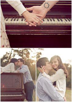 vintage piano engagement photo shoot