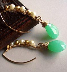 Mint Green Chrysophrase Chrysoprase Earrings by echosofspring