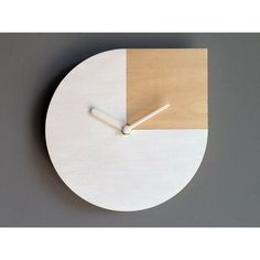 Laser cut wood wall clock,Andy Warhol quote,white and wood clock,wood... ($31) ❤ liked on Polyvore featuring home, home decor, clocks, hand clock, square wall clock, battery powered clock, wood wall clock and battery clock