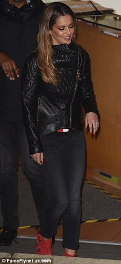 Effortless: The X Factor mentor chose a quilted, leather jacket (L)