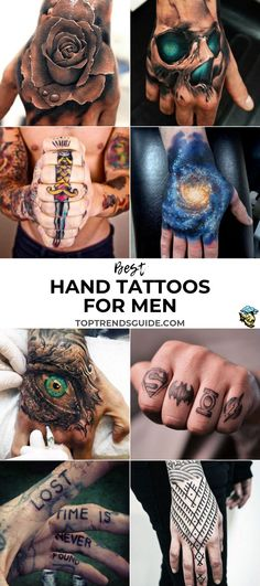 Best Hand Tattoos For Men: Cool Hand Tattoo Ideas and Cool Designs For Guys - Small, Simple, Palm, Wrist, and Side Hand Unique Hand Tattoos, Mandala Hand Tattoos, Butterfly Hand Tattoo, Skull Hand Tattoo, Cute Hand Tattoos, Hand Tattoos For Women, Hand Tats, Cool Tattoos For Guys, Small Tattoos