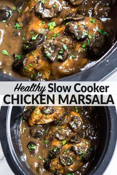 May 2020 - An easy, healthy recipe for Crock Pot Chicken Marsala filled with rich Italian flavor. Juicy chicken breasts slow simmered in a creamy mushroom wine sauce, it's the best, most delicious low carb dinner that the entire family will love! Slow Cooker Chicken Healthy, Chicken Breast Recipes Healthy, Easy Healthy Recipes, Slow Cooker Recipes, Crockpot Recipes, Chicken Recipes, Chicken Meals, Chicken Broccoli, Lemon Chicken