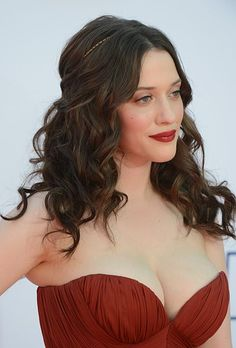 Waves are getting popular! Try teaming them with a headband.  Brides.com: The Best Celebrity-Inspired Wedding Hairstyles: 2012 Emmys. Kat Denning's Curly Half Up Hairstyle. The Two Broke Girls star accessorized her half up hairstyle with a thin, gold headband by Jennifer Behr. Browse more curly wedding hairstyles.