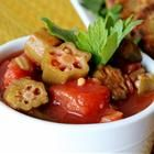 """Okra with Tomatoes - """"This is a yummy side dish with rice. Using two types of tomato gives the dish texture and is a tasty explosion of flavors with lots of garlic and crushed red pepper."""""""