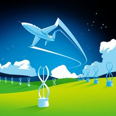 Illustraion for a financial report that outlines zero emission aviation and the positive impact it could have on the world Outlines, My Works, Aviation, Zero, World, Illustration, Projects, Movie Posters, Log Projects