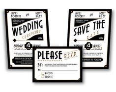 Printable DIY WEDDING INVITATION: Vintage Art Deco Invitation Set - Diy Wedding Invitation Set, Art Deco Wedding, Retro, Great Gatsby