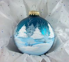 Winter Wonderland Ornament, Winter Trees and Snow, Teal Bulb, Painted All Around, Hand-Painted Keepsake