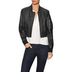 Walter Baker Women's Nicole Leather Bomber Jacket - Black - Size L (8.550 CZK) ❤ liked on Polyvore featuring outerwear, jackets, black, leather bomber jacket, flight jacket, zipper jacket, leather zip jacket and leather jackets