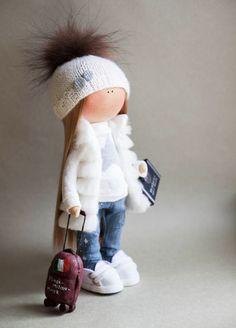 Handmade doll Textile doll Fabric doll Tilda Rose White doll