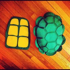 Front and back shell for Teenage Mutant Ninja Turtle costume. Made from felt.