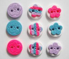 Button Mix Stripe Flowers handmade polymer clay button set ( 9 )