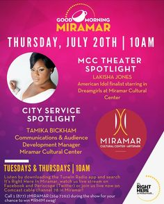 TOMORROW @ 10 AM: Don't miss #GMM as we chat with Tamika Bickham Communications & Audience Development Manager to get all the details on the 2017 Broadway Festival of South Florida hosted by the @miramarcultural Center. Then we will be joined by American Idol Finalist @LaKishaJones who stars as Effie in the Miramar Cultural Center   ArtsPark production of Dreamgirls happening this weekend Sat. July 22nd at 8 p.m. and Sun. July 23rd at 2 p.m. Be sure to #tunein to get the scoop on What's…