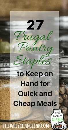 27 Frugal Pantry Staples to always have on hand. By keeping these frugal foods on hand, you'll be able to make a variety of frugal meals and always have an inexpensive base of ingredients to use when creating your meal plan! Budget Freezer Meals, Frugal Meals, Cheap Meals, Budget Dinners, Cheap Food, Freezer Recipes, Budget Meal Planning, Cooking On A Budget, Cooking Food