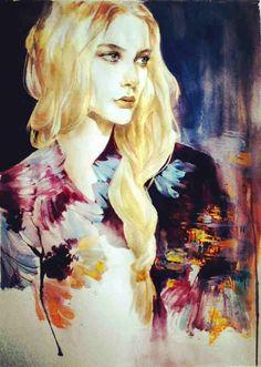 from Aurora xu Watercolor Sky, Watercolor Portraits, Female Portrait, Oeuvre D'art, Les Oeuvres, Artsy, Aurora, Creative, Illustration