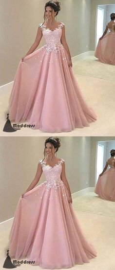 Elegant Pink Long Prom Dress Applique A-Line Evening Dress Formal Dress,HS453 #moddress #fashion #shopping #promdresses #eveningdresses #prom #dresses