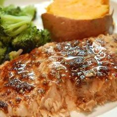Filetes de salmón glaseados