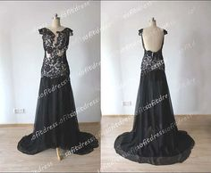 lace prom dresses black prom dresses cap sleeves by sofitdress, $149.00