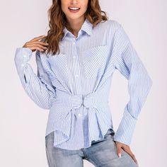 Casual Stripe Slim Long Sleeve T-Shirt – Fashion Outfit Casual T Shirts, Casual Tops, Outfit Combinations, Fashion Line, Fashion Outfits, Womens Fashion, Ladies Fashion, Types Of Fashion Styles, Shirt Blouses