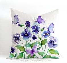 """Pansies and Butterflies original design in blue, green and lilac -linen/cotton Pillow Cover with invisible zipper. Avail 16""""sq, 18""""sq, 20""""sq..."""