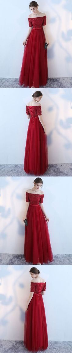 Burgundy tulle off shoulder long prom dress, burgundy eveninng dress M1652#prom #promdress #promdresses #longpromdress #2018newfashion #newstyle #promgown #promgowns #formaldress #eveningdress #eveninggown #2018newpromdress #partydress #meetbeauty #burgundy #offshoulder #shortsleeve #tulle