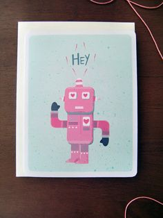 Valentine Robot HelloIllustrated Greeting by StoneandFeatherPaper, $2.50