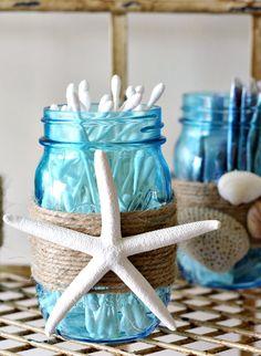 Beach Themed Blue Mason Jar QTip Holder - Home Decoration Styling Nautical Bathroom Design Ideas, Nautical Bathrooms, Beach Bathrooms, Bathroom Designs, Beachy Bathroom Ideas, Coastal Bathroom Decor, Coastal Decor, Beach Bedroom Decor, Bathroom Crafts