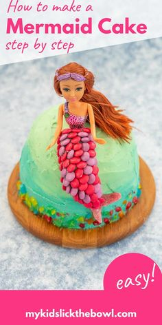 This mermaid cake is a super easy kids birthday cake, no fondant needed just buttercream and candy decorations the perfect birthday cake idea for a mermaid party #mermaidparty #mermaidcake #buttercream #birthdayparty Easy Kids Birthday Cakes, Easy Cakes For Kids, Mermaid Birthday Cakes, Homemade Birthday Cakes, Mermaid Cakes, Birthday Cake Girls, Cakes For Boys, Birthday Ideas, Candy Decorations