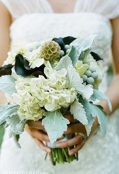 Mint green sage dusty blue and black calla lillies bouquet with white hydrangeas