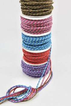 Strong Polyester Woven Cord Multicoloured, Purple, Red, Blue, Pink and Green - Pink And Green, Olive Green, Purple, Outdoor Clothing, Outdoor Outfit, Jewellery Making, Natural Linen, Metal Jewelry, Ribbons