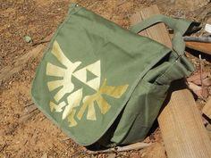 Legend of Zelda triforce eagle messenger tote bag. $25.00, via Etsy.
