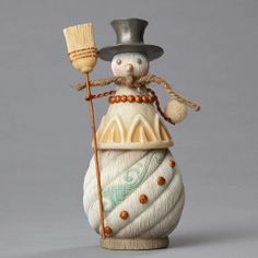 Snowman with Broom and Snowball Figurine - Snowmen