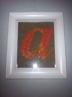 My initial made with buttons and burlap as the background #crafts#initials