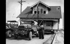 The parsonage of Inglewood First Methodist Church is moved to Grace Methodist Church in Lennox. Ed French, left, the foreman on the moving job, talks with Rev. Stone and Willis L. Hanna of Lennox Los Angeles Area, Los Angeles Homes, Downtown Los Angeles, Building Movers, Building A House, 1900s House, House Removals, House Movers, New Neighbors