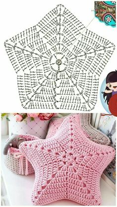 Crochet Diagram, Crochet Motif, Diy Crochet, Crochet Crafts, Crochet Doilies, Crochet Flowers, Crochet Projects, Crochet Cushion Cover, Crochet Cushions