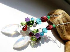 Pierres gemmes colorées colorés boucles d'oreilles gouttes 925 améthyste, labradorite, grenat, pyrite, apatite, cristal de roche, saphir (jaune), disthène.